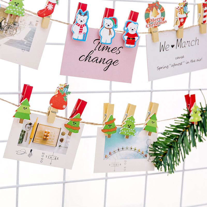 10PCS/Set Colorful Christmas Small Clip Hemp Rope Decorative Photo Frame Paper Clip Photo Wall Small Wooden Clip