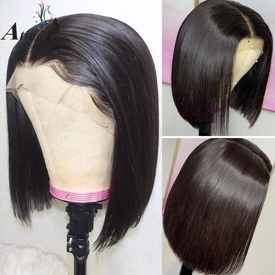 Straight Bob Short Human Hair Wigs 13x4 Lace Front Wig For Black Women With Baby Hair Remy Glueless Pre Plucked Brazilian Atina