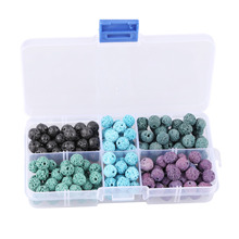 200pcs/set Artificial Lava Round Beads for Diy Necklace Bracelet Earring Making  Loose Jewelry Findings&Components