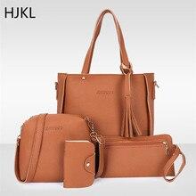 4PCS Handbag Set Ladies High Quality PU Leather Fashion Lychee Pattern Womans Package Tassel Crossbody Shoulder Tote Bags 2019