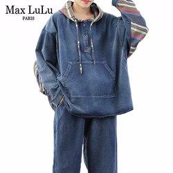 Max LuLu 2020 Frühling Koreanische Mode Damen Lose Zwei Stücke Sets Frauen Denim Vintage Anzüge Patchwork Streetwear Tops Und Hosen