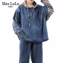 Max LuLu 2020 Primavera Coreano Signore di Modo Allentato Due Pezzi Set Delle Donne Del Denim Dell'annata Abiti Patchwork Streetwear Magliette e camicette E Pantaloni
