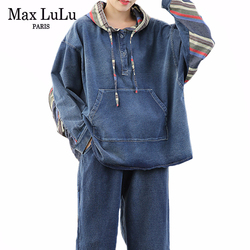 Max LuLu 2020 Spring Korean Fashion Ladies Loose Two Pieces Sets Womens Denim Vintage Suits Patchwork Streetwear Tops And Pants
