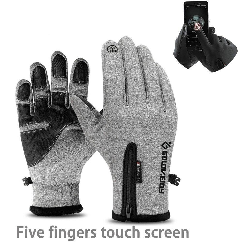 Men Ski Waterproof Gloves Cycling Winter Outdoor Warm Snowmobile Skiing Five Fingers Touch Screen Anti-slip Cycling Gloves Women