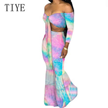 TIYE Vintage Two Pieces Sets Off Shoulder Lace Up Top and Boot Cut Pants Fashion Hollw Out Casual Print Summer Women Jumpsuits