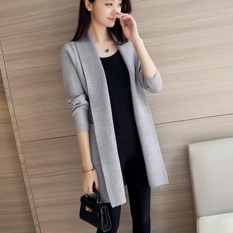 Autumn Winter Loose Elegant Knitted Cardigan Long Sleeve Solid Color Casual Sweater Harajuku Korean Jumper Coat