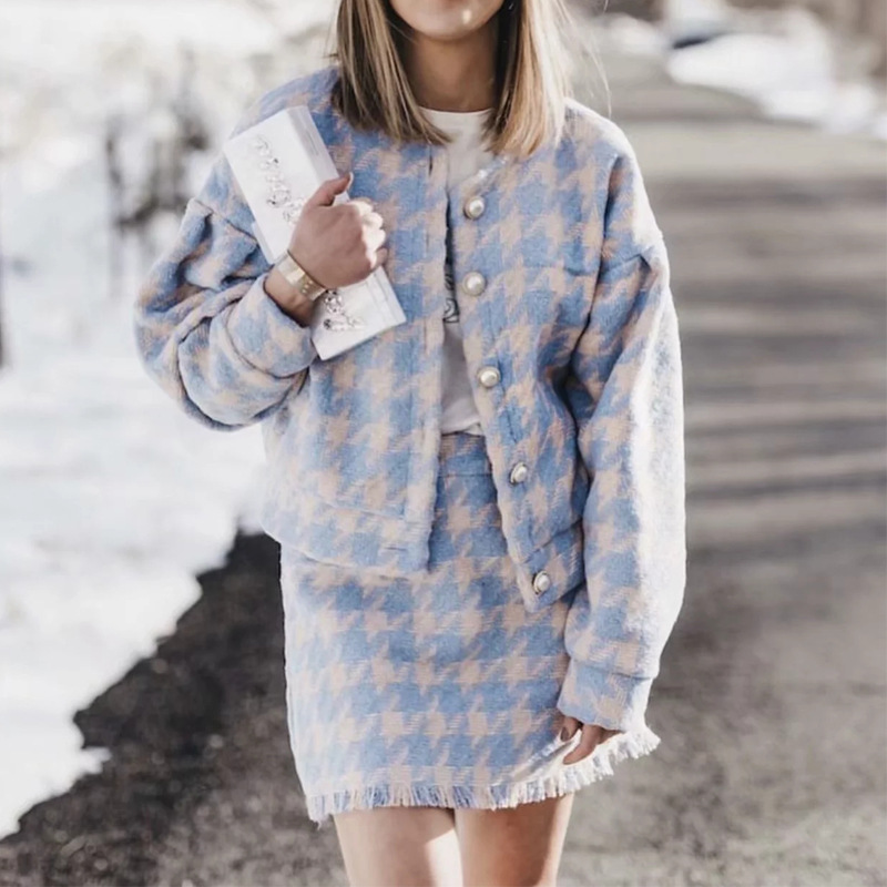 Autumn Winter Women Sexy Tweed Suits Fashion Tops+skirts 2 Piece Sets Female Beaded Woolen Coat Elegant Skirts Sets Women's Set