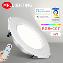 Smart LED lamp Miboxer 6W RGB + CCT LED downlight FUT068 round AC 100V-240V brightness dimmable living room bedroom downlight