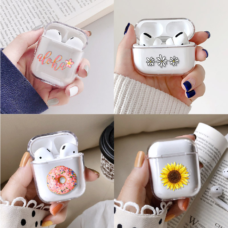 Floral Plants Cute Earphone Case For Apple iPhone Charging Box For AirPods Pro Hard Transparent Protective Cover Accessories