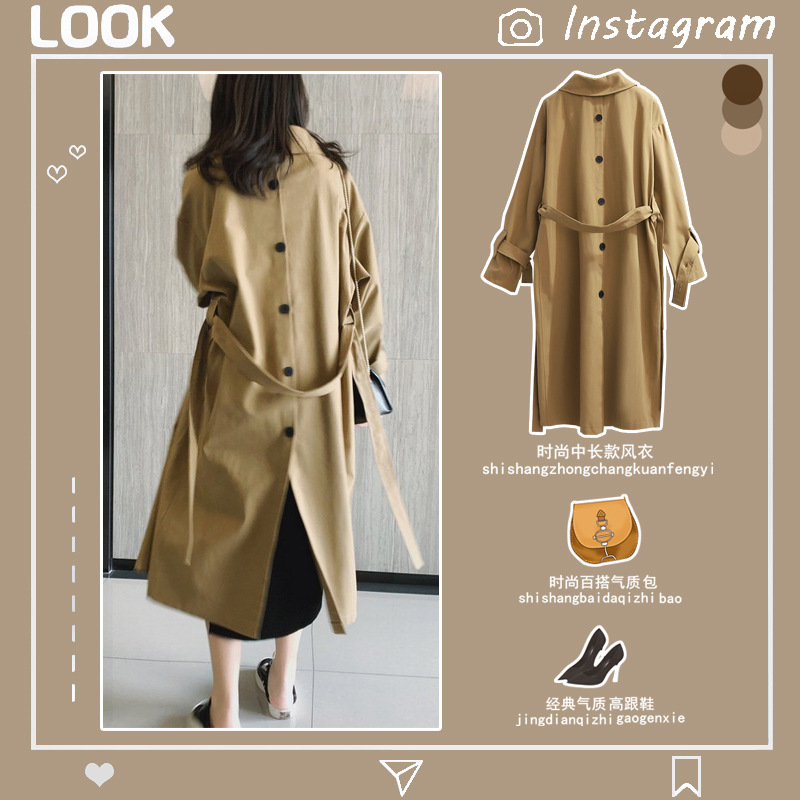 Japanese Style Hot Women's Spring Overcoat Plus Size Back And Front Single Breasted Lace-up Midi Trench Coats For Woman