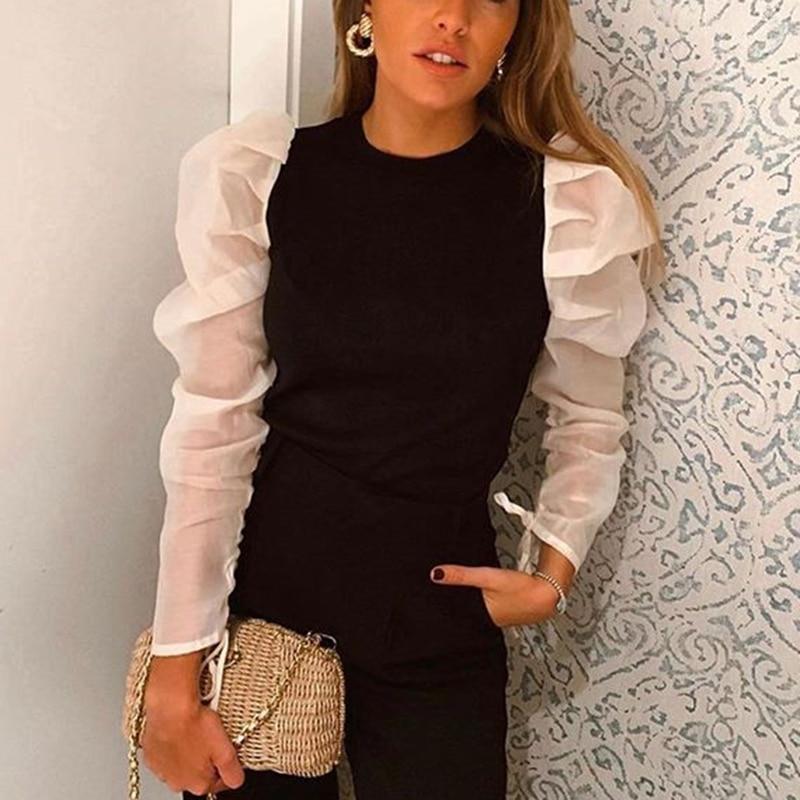 Women Sweet Patchwork Blouse O Neck Long Puff Sleeve Shirt Female Office Wear Basic Cute Tops Blusas