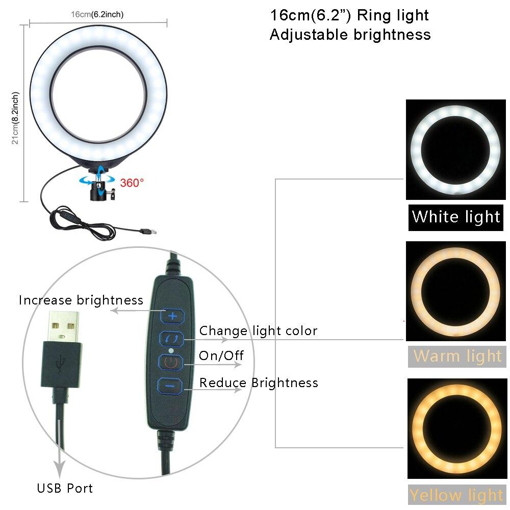 """55см алюминий штатив + 6.2"""" 16 см, светодиодное кольцо света для макияжа влог Прямая видео трансляция + двойной держатель мобильного телефона для Редми 7 чехо"""