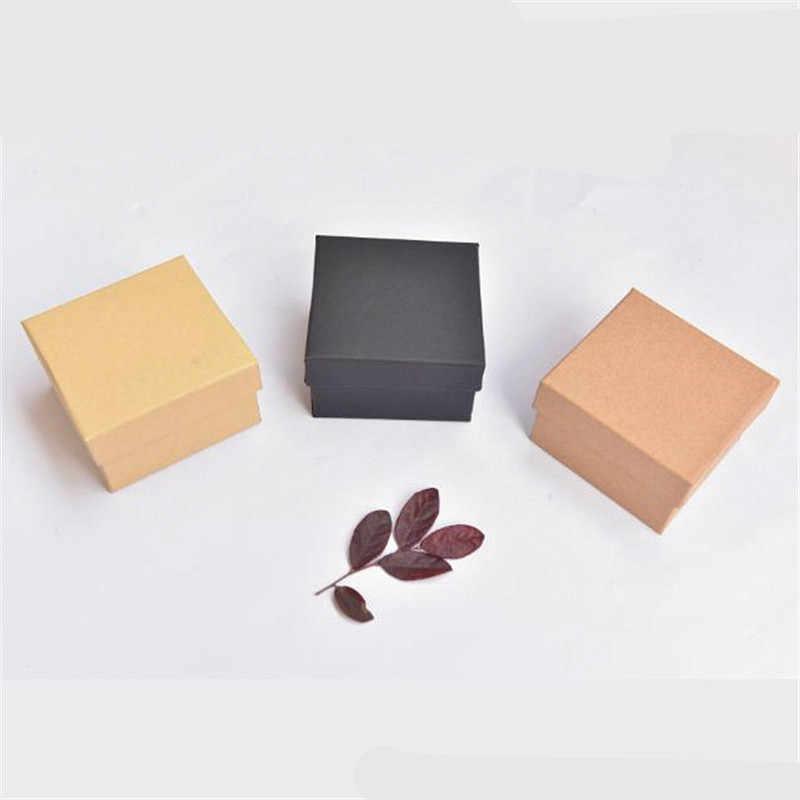 1pc Piccola scatola di carta Kraft, marrone cartone fatto a mano scatola di sapone, bianco del mestiere di carta contenitore Di regalo di Natale, contenitore di monili di imballaggio nero