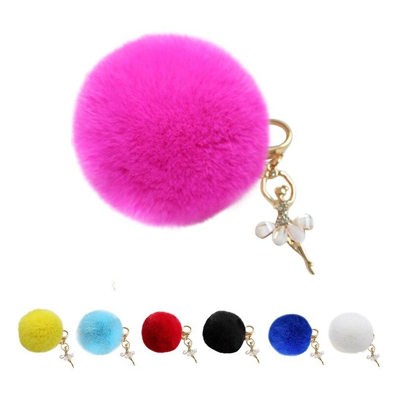 Women Bag New Gold Key Rings Pom Pom Key Chains Fake Rabbit Fur Ball KeyChain Pompom Angel Girl Fourrure Pompon HOT
