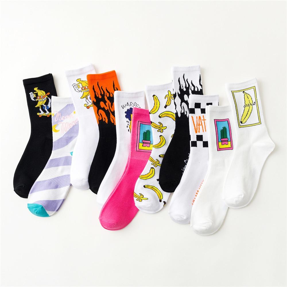 Pure Cotton Men Women Socks Funny Harajuku Hip Hip Street Skateboard Christmas Socks Male Cartoon Cute Meia Animal Print Sox