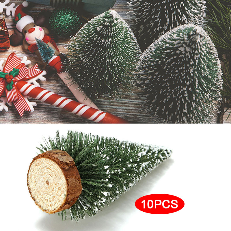 Santa Tree Xmas Tree Artificial Plastic 10pcs Ornament Home Village Putz House Tabletop image