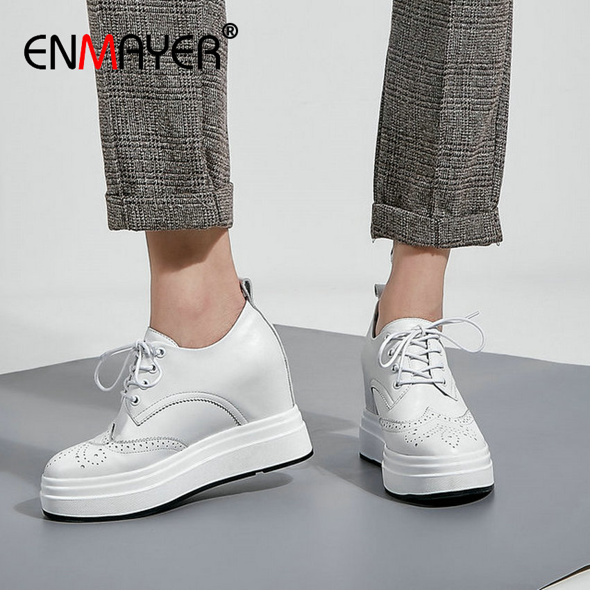 ENMAYER 2020 Genuine Leather High Heel Shoes Increased Internal Lace-Up Leisure Womens Shoes Round Toe Casual Women Pumps 34-40