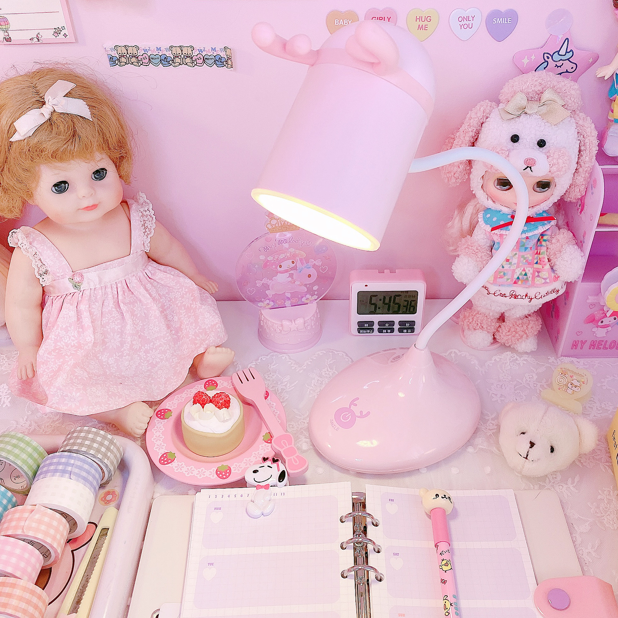 Cute Pink Antlers Desk Lamp with Night Light Touch switch Dimmer Rechargeable Battery Desk Light USB LED Table Lamps