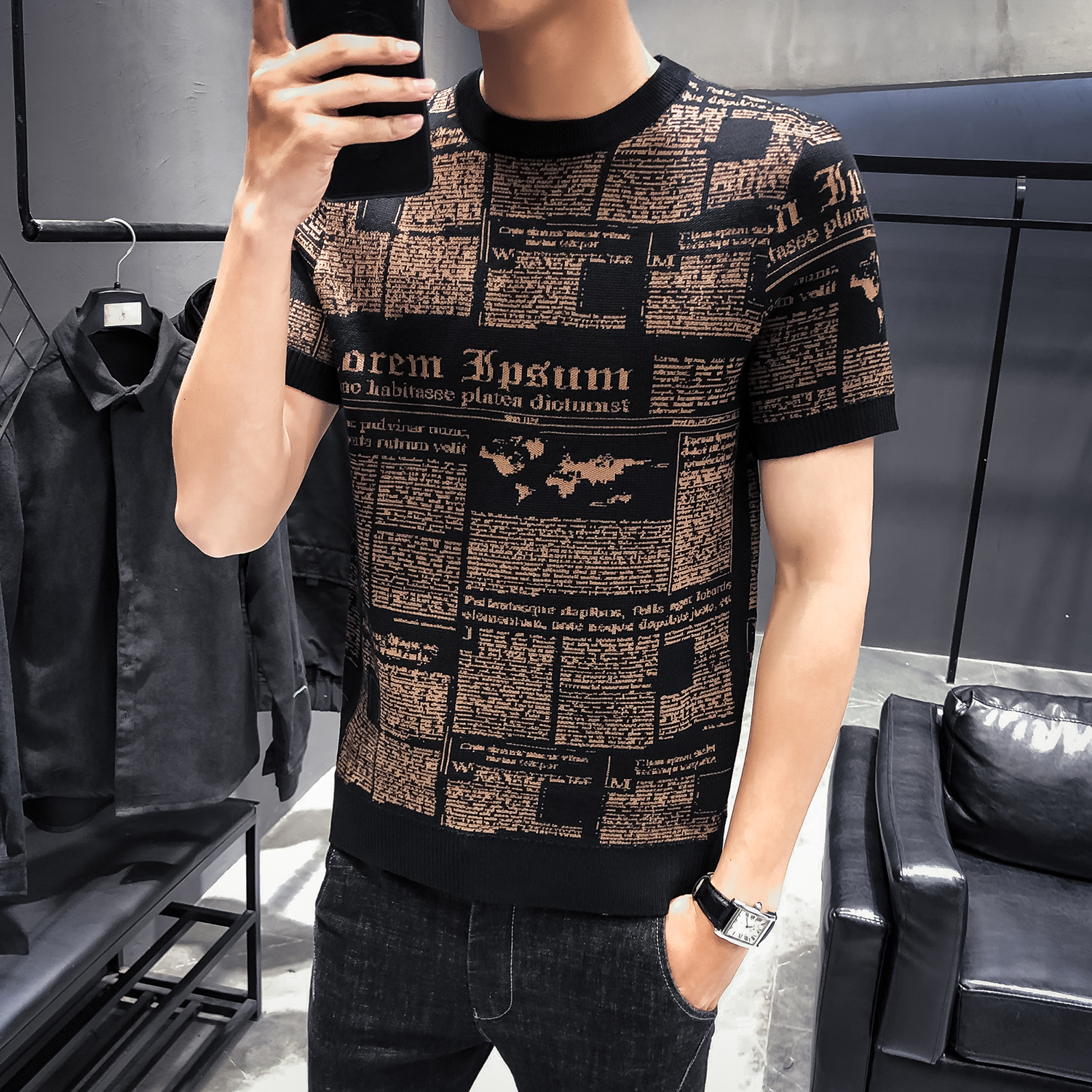 Streetwear Round Sleeve T-shirt Camisetas Hombre Dress Short Sleeve Male Knitting Tshirt Tee Jacquard Weave High Quality Autumn