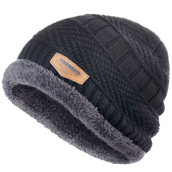 Men's winter Fashion Knitted Black Fall Hat