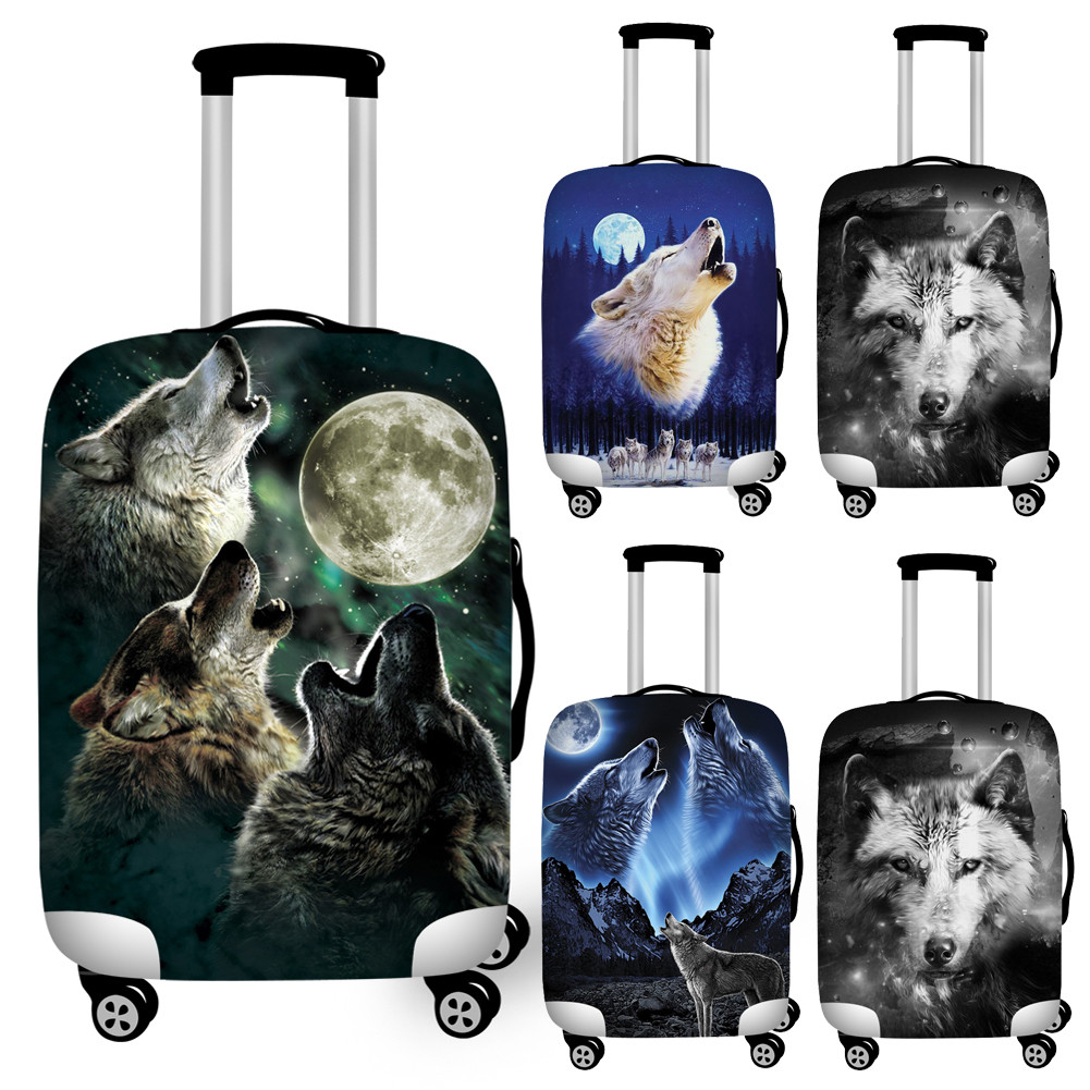Cool 3d Animal Wolf Print Suitcase Cover For Travel Elastic 18''-32'' Luggage Set Covers Waterproof Luggage Cover Baggage Covers