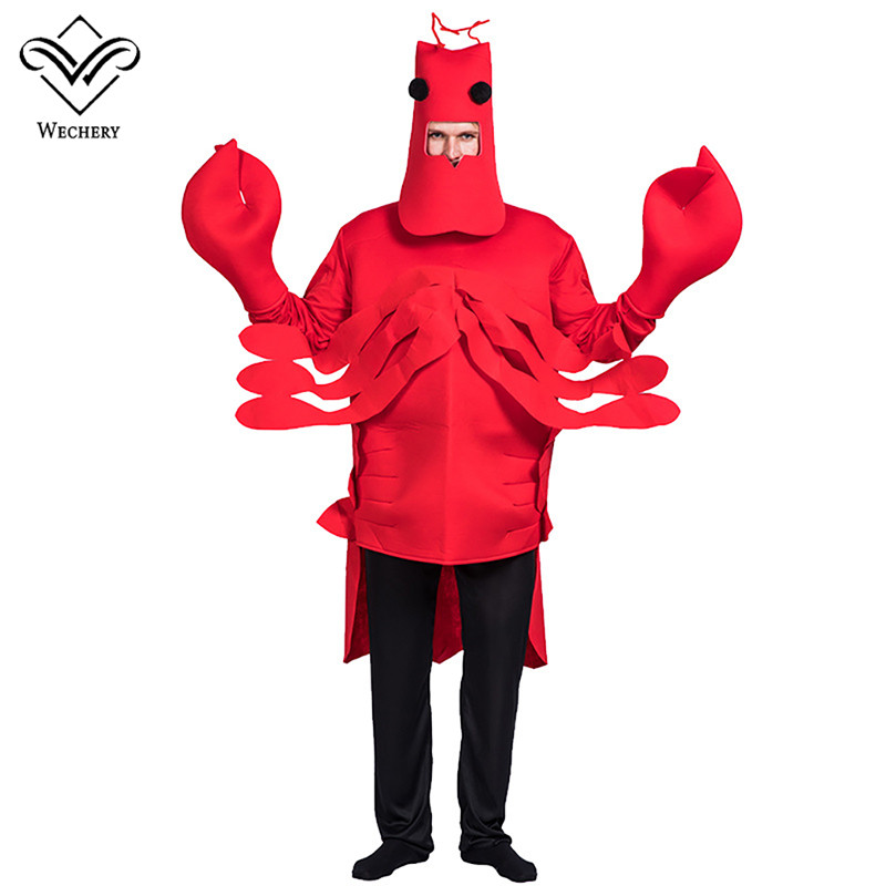 Wechery Lobster Cosplay Unisex Male Adult Halloween Costumes Female Halloween Clothing For Women Party Food Cosplay Top Headgear