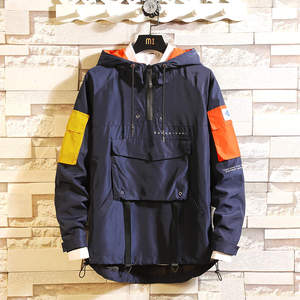 Image 2 - Mens Anorak Jackets 2019 Men Hip Hop Outwear Autumn Fashion Hit Color Patchwork Casual Streetwear Male Jackette Outdoor Coat