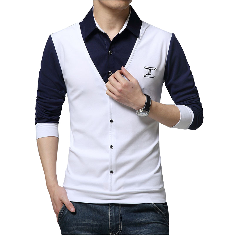 Esast Men Thicken Thermal Shirt Slim Fit Long Sleeve Fleece Fake Two Shirts