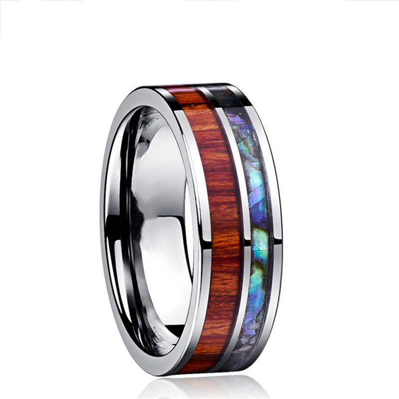 Wood-Inlay-Titanium-Steel-Rings-For-Men-8-mm-Abalone-Shell-Tungsten-Carbide-Ring-Fashion-Male