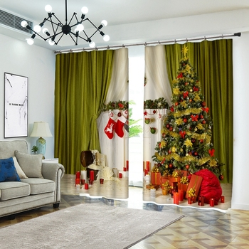 Christmas Creative Pictures on Curtains 3D Printed Curtains for Living Room  Luxury Fabrics  Christmas Blackout  Curtains