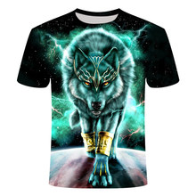 The new summer 2021 3D printed animal print T-shirt for men printed casual T-shirt with round neck and hip-hop short sleeves