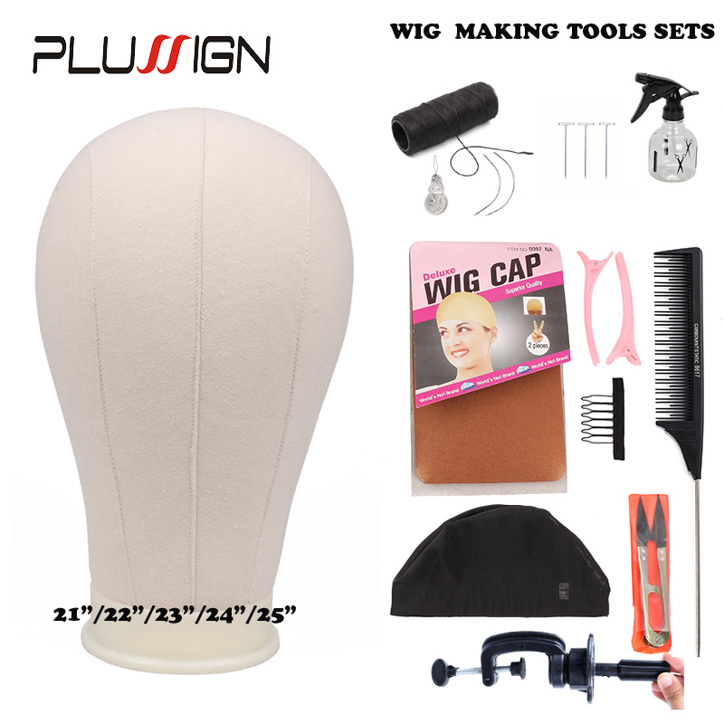 Plussign 10Pcs Wig Making Kit Training Mannequin Head Canvas Block Head With Hair Clips Stand Spandex Mesh Cap T Pins Tail Comb