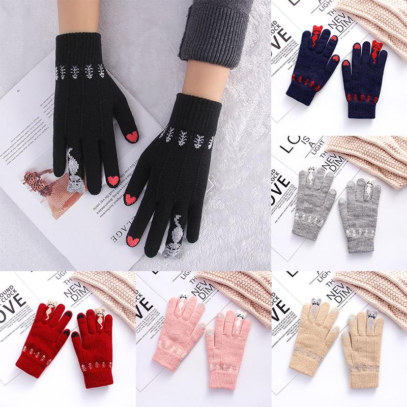 Winter Touch Screen Gloves Thicken Women Men Warm Stretch Knit Mittens Imitation Wool Full Finger Guantes Female Crochet