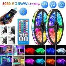 Tira de luces Led 5050, controlador Bluetooth Flexible RGBWW 2835, luz impermeable para retroiluminación de TV, adaptador de CC para decoración de cumpleaños