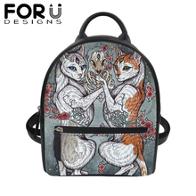 FORUDESIGNS Gothic Black Cat PU Backpack Women Femme Hip Hop Small Shoulder Bags for Girl Student School Bookbag Popular Daypack