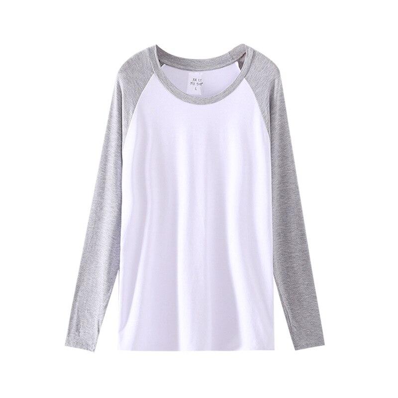 Spring Autumn Soft Modal Men Sleep Shirt Plus Size Long Sleeves V Neck Man Casual Tops Daily Sleepwear Men's Clothing Nightwear