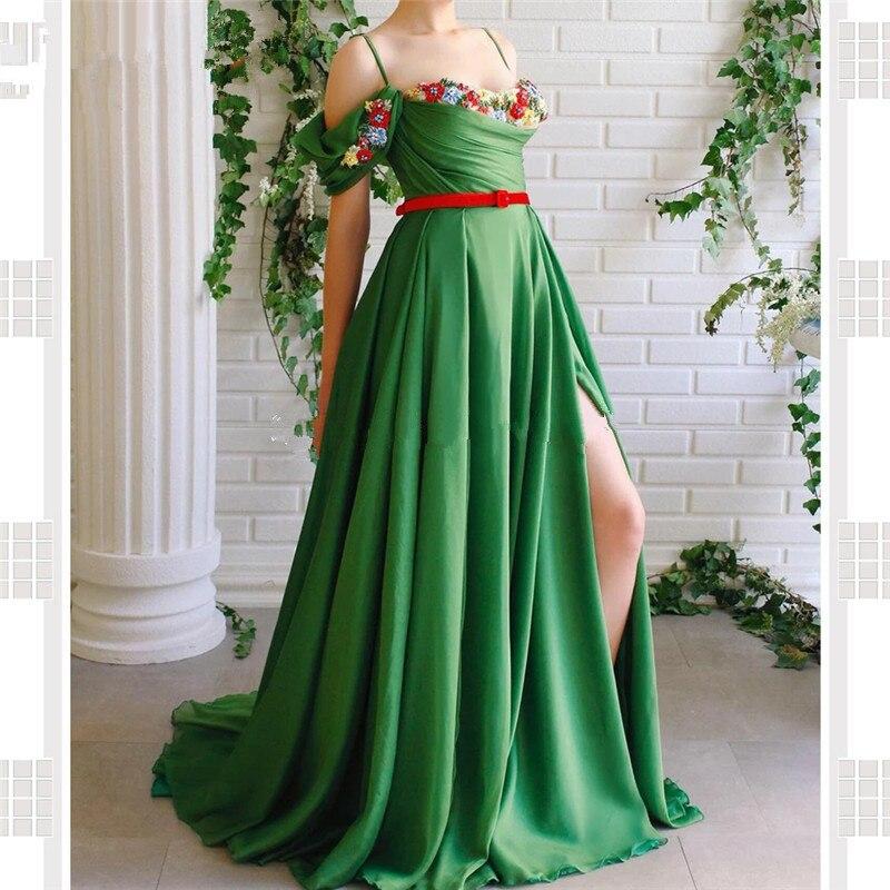 Vert musulman robes de soirée 2019 a-ligne Spaghetti bretelles en mousseline de soie broderie dubaï saoudien arabe longue robe de soirée robe de bal