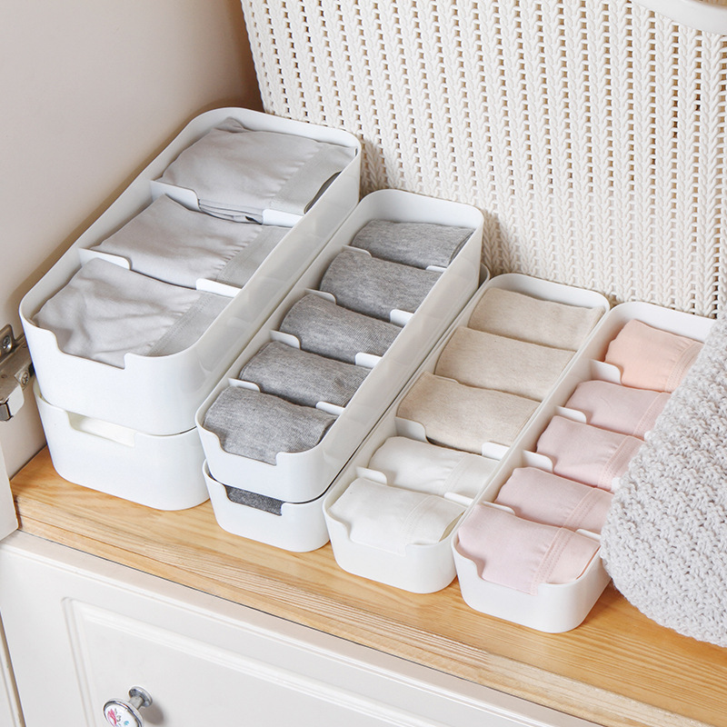 Storage Basket Wardrobe Storage Bag Ladies Men's Socks Storage Box Underwear Plastic Container Cosmetics Desktop Finishing Box
