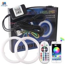 Auto Angel Eyes 2 Teile/satz Auto Halo Ringe 12V Scheinwerfer 2835 Motorrad 80MM 95MM RGB APP Bluetooth baumwolle Lichter Drahtlose Steuerung