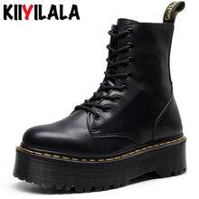 Kiiyilala Genuine Leather Chunky Heels Motorcycle Boots For Women Round Toe Combat Size 34-41Ladies Zipper Platform Shoes
