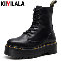 Kiiyilala Genuine Leather Chunky Heels Motorcycle Boots For Women Round Toe Combat Boots Size 34 41Ladies Zipper Platform Shoes