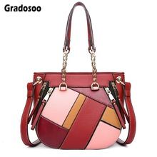 Gradosoo Panelled Shoulder Bags For Women Leather Messenger Female Luxury Handbags Designer Crossbody Bag LBF634