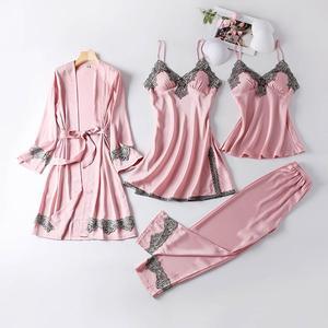 July 'S Song New 4 Pieces Women Pajamas Sets Faux Silk Pajamas Sleepwear Sets Elegant Sexy Lace Fashion Spring Autumn Homewear