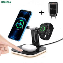 Bonola Magnetic Charge Wireless 3 in 1 per iPhone 11 12Mini/Pro Max 15W stazione di ricarica rapida per Apple Watch/Airpods Pro Charge
