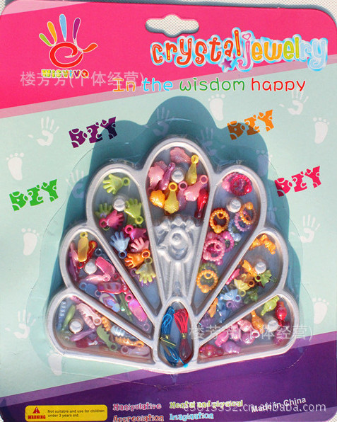 Ecai Fun Blister Card Beaded Bracelet Creative Bracelets Necklace Forging Children Finger Fine Motion Material