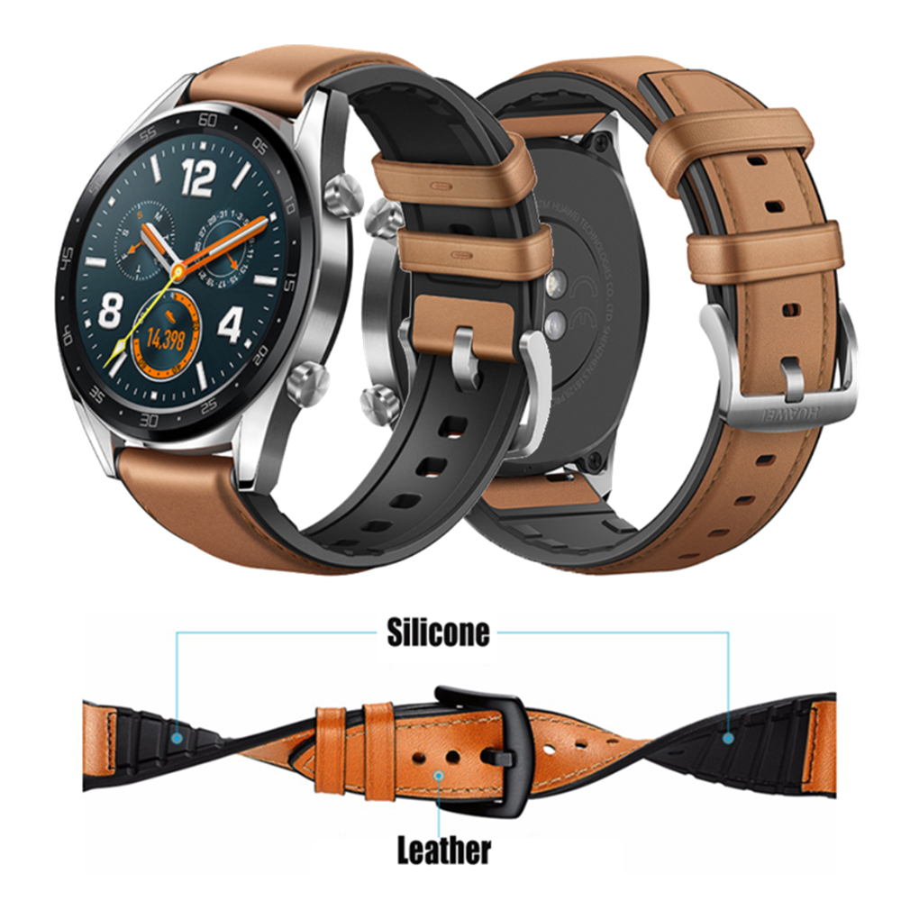 22mm Watchband For Huawei Watch GT Active/Honor Watch Magic Smart Watch Replace Bracelet Silicone+Leather Wrist Strap Band