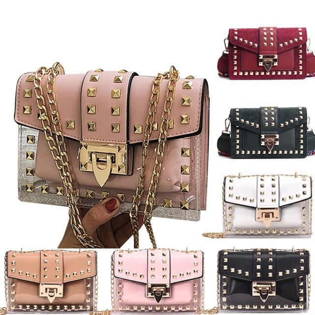 Small clear Brand Designer Woman 2019 New Fashion Messenger Bag Chains Shoulder Bag Velvet Rivets Transparent Square PU Handbag