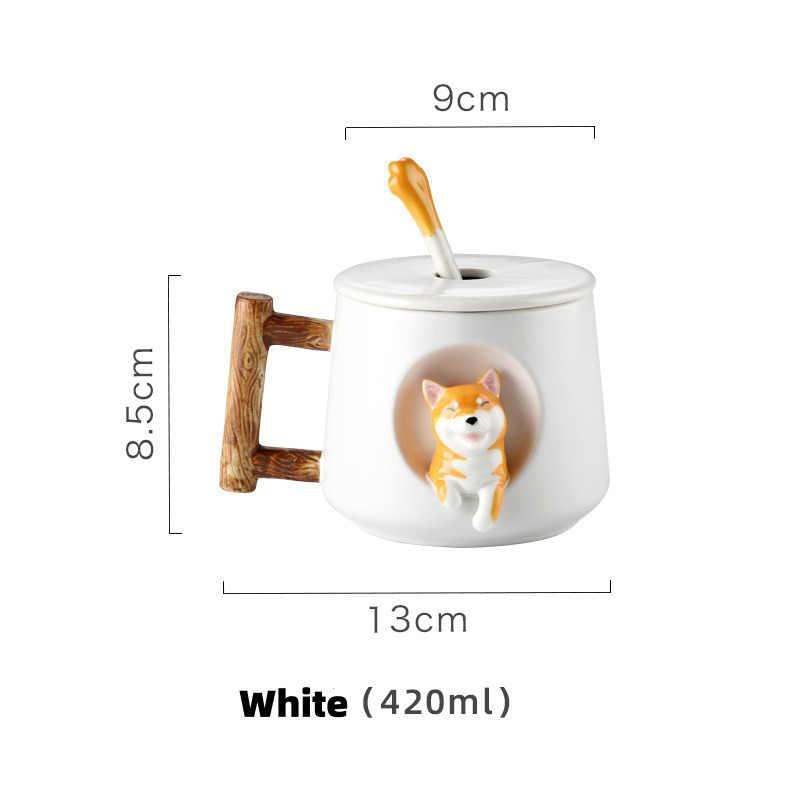 Tazas de té o café de cerámica para perros lindos de 420ml DISEÑO DE Shiba con tapa y cuchara tazas creativas de té y café regalos novedosos