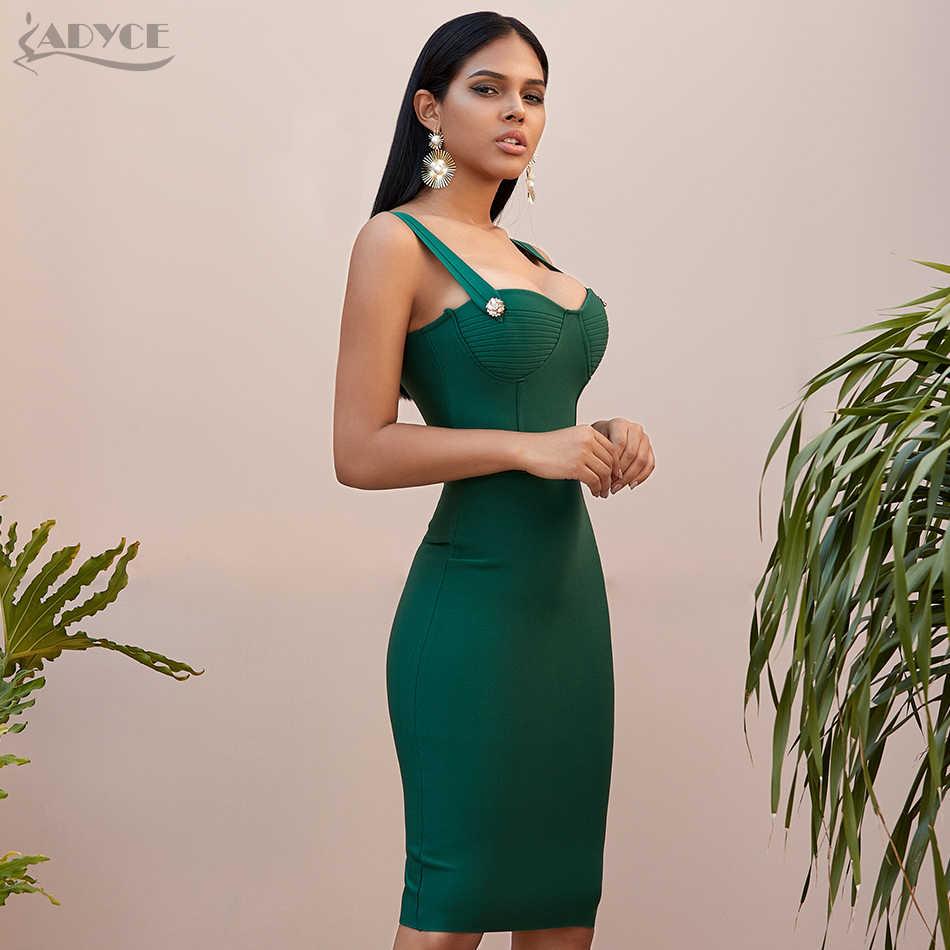 Adyce 2019 חדש קיץ ירוק תחבושת שמלת נשים סקסי ללא שרוולים ספגטי רצועה אדום מועדון סלבריטאים ערב המפלגה שמלת Vestidos