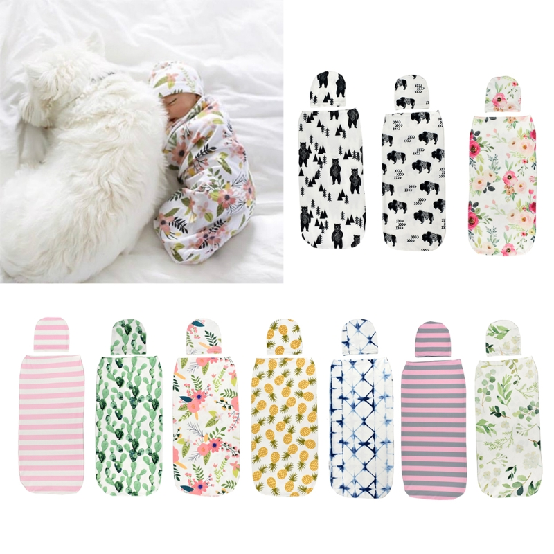 2 Pieces Set Newborn Swaddle Wrap+Hat Cotton Baby Receiving Blanket Bedding Cartoon Cute Infant Sleeping Bag For 0-6M